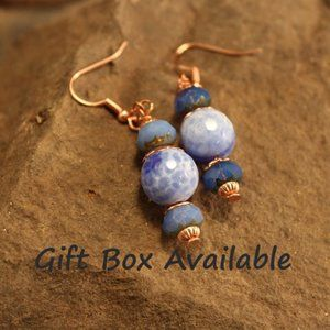 Copper and Fire Polished Blue Stone Earring